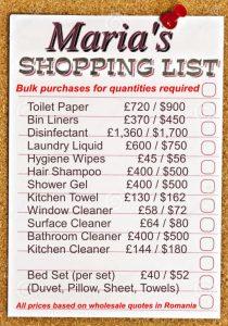 Maria's shopping list