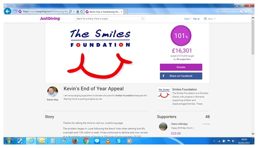 Justgiving Page for End of Year Appeal