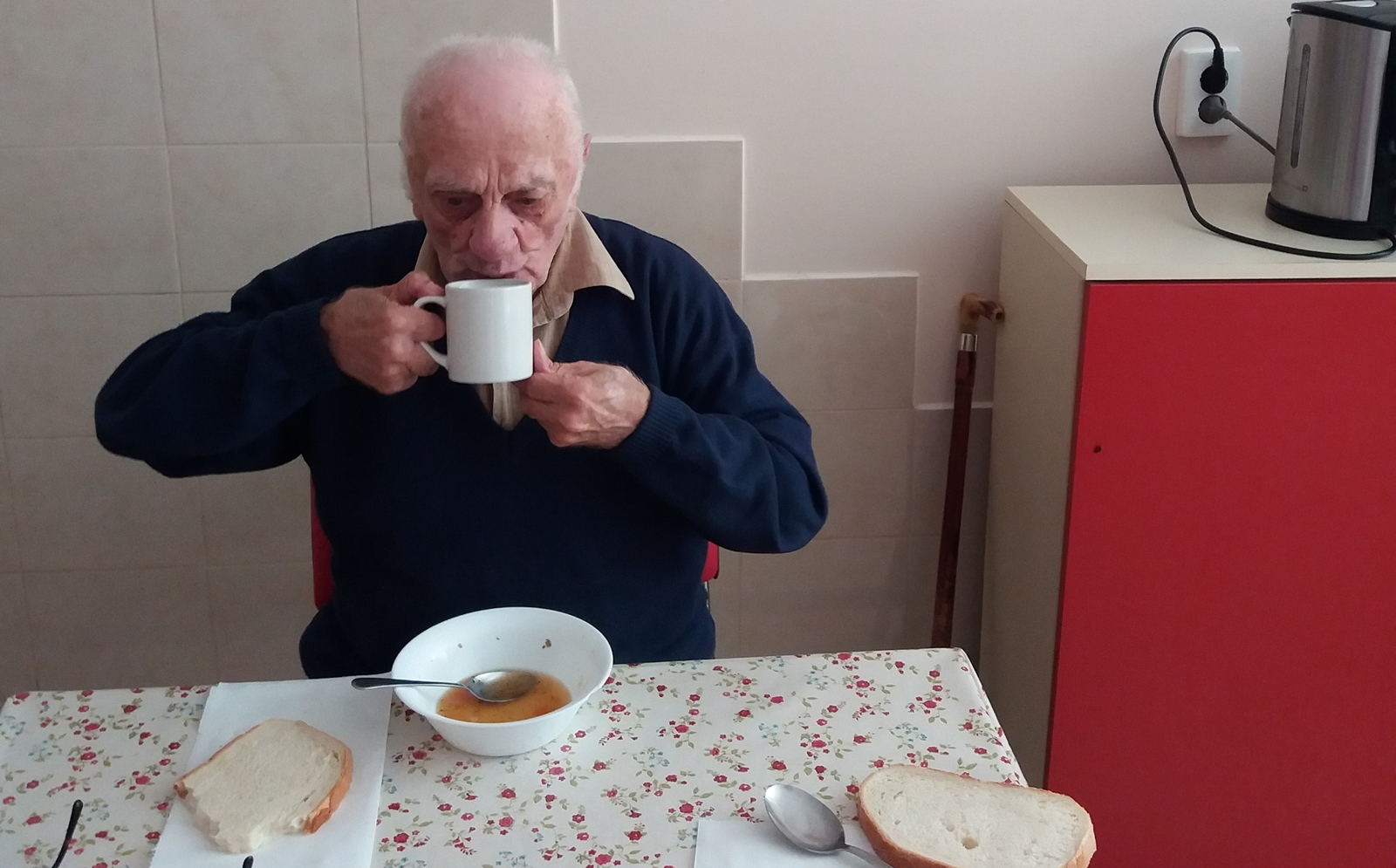 Mr Veres with favourite soup!