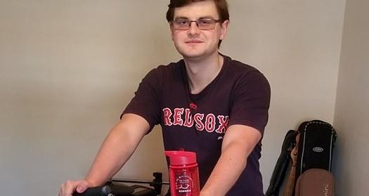 Luke on the exercise bike